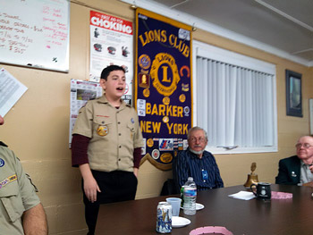 Joseph Cantella addresses the Barker Lions