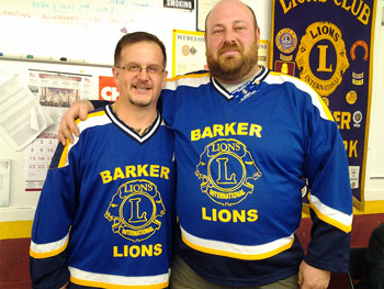 Barker Lions Club Past Presidents Scott Ecker and Kevin Bittner show