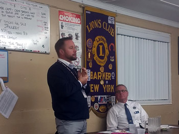 Superintendent Jeff Reimer speaks to the Barker Lions Club.